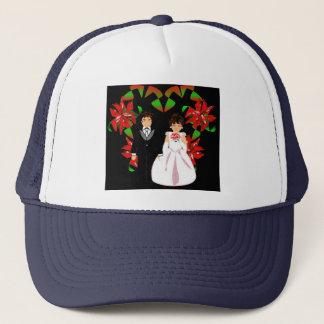 Christmas Wedding Couple In Navy Heart Wreath I Trucker Hat
