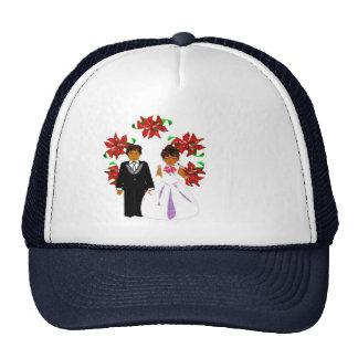 Christmas Wedding Couple In Navy Round Wreath I Trucker Hat