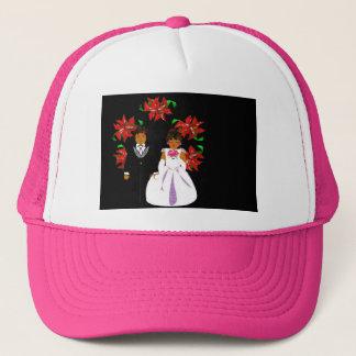 Christmas Wedding Couple In Pink Round Wreath Trucker Hat