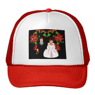 Christmas Wedding Couple In Red Heart Wreath I Trucker Hat