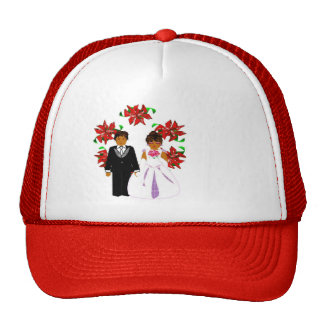 Christmas Wedding Couple In Red Round Wreath I Trucker Hat