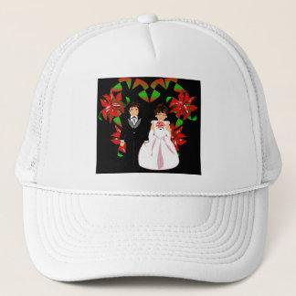 Christmas Wedding Couple In White Heart Wreath I Trucker Hat