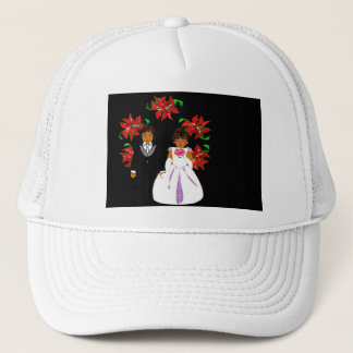 Christmas Wedding Couple In White Round Wreath Trucker Hat
