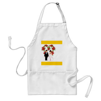Christmas Wedding Couple IV In Gold With Heart Adult Apron