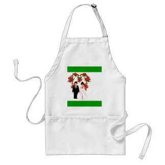 Christmas Wedding Couple IV In Green With Heart Adult Apron