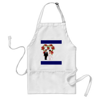 Christmas Wedding Couple IV In Navy With Heart Adult Apron