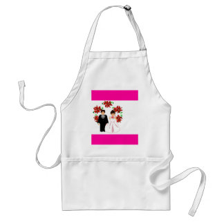 Christmas Wedding Couple IV In Pink Adult Apron