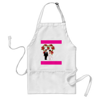 Christmas Wedding Couple IV In Pink With Heart Adult Apron