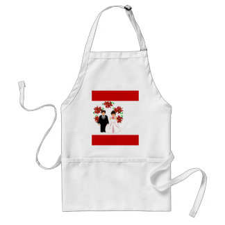 Christmas Wedding Couple IV In Red Adult Apron
