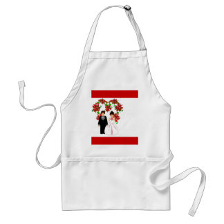 Christmas Wedding Couple IV In Red With Heart Adult Apron