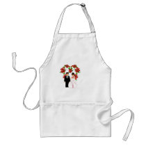 Christmas Wedding Couple IV In White Heart Adult Apron