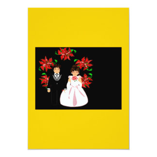 Christmas Wedding Couple With Wreath In Gold Custom Announcements