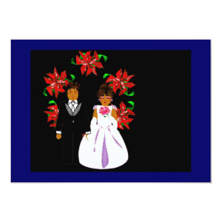 Christmas Wedding Couple With Wreath Personalized Invite