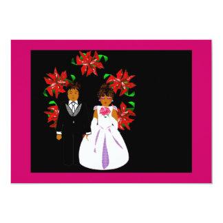 Christmas Wedding Couple With Wreath Pink Blue Custom Invitations