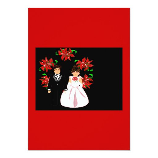 Christmas Wedding Couple Wreath In Red Pink Card