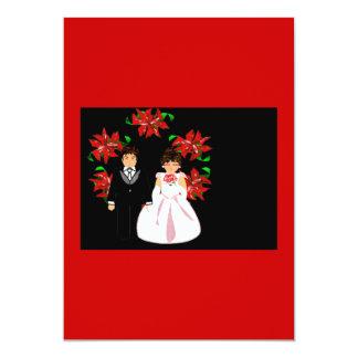 Christmas Wedding Couple Wreath In Red Pink Custom Invitation
