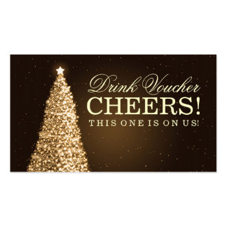 Christmas Wedding Drink Voucher Gold Double-Sided Standard Business Cards (Pack Of 100)