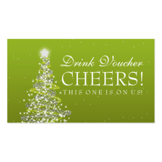 Wedding Gift List Holiday Vouchers : Christmas Wedding Drink Voucher Green Business Card