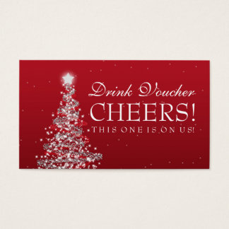 Christmas Wedding Drink Voucher Red Silver Business Card