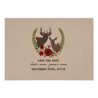 Christmas Wedding Floral Deer Save The Date Personalized Invitation