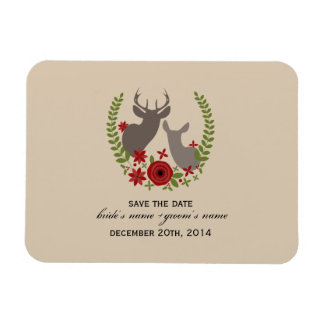 Christmas Wedding Floral Deer Save The Date Flexible Magnet