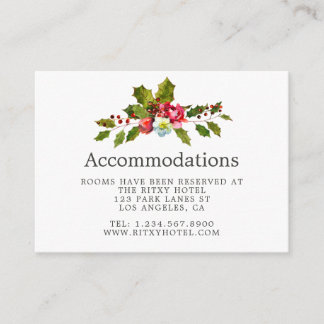 Christmas Wedding Floral Holly Accommodations Enclosure Card