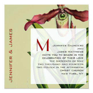 "Christmas Wedding Invitation Orchid Red Green 5.25"" Square Invitation Card"