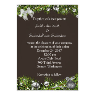 Christmas Wedding Invitation with Silver Ornaments