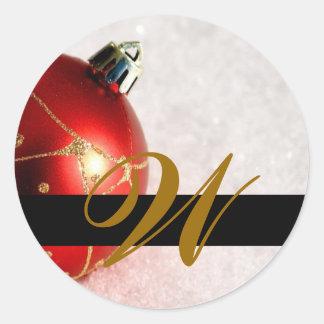 Christmas Wedding Monogram Invitation & Favor Seal Classic Round Sticker