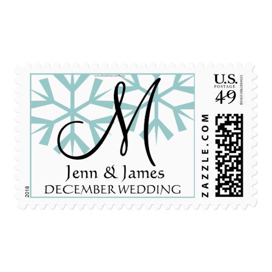 Christmas Wedding Monogram M  Blue Postage