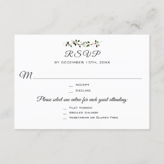Christmas Wedding or Event 3 Entree RSVP Response