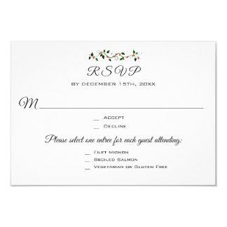 Christmas Wedding or Event 3 Entree RSVP Response Card