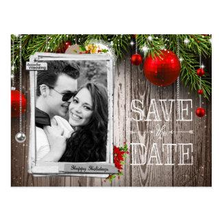 Christmas Wedding Photo Save The Date Postcard