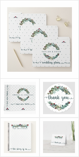 Christmas Wedding Planning Watercolor Florals