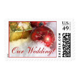 Christmas Wedding Postage Stamp Red White
