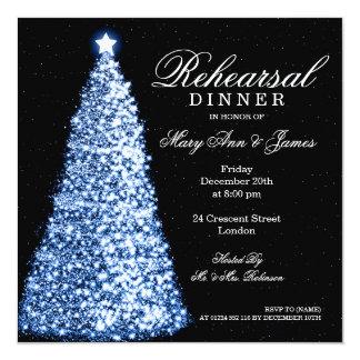 "Christmas Wedding Rehearsal Dinner Blue 5.25"" Square Invitation Card"
