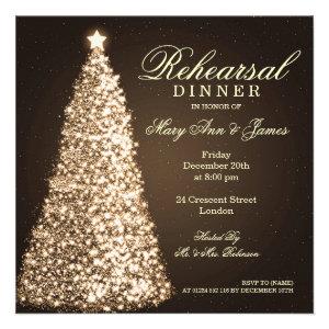 Christmas Wedding Rehearsal Dinner Gold Announcements