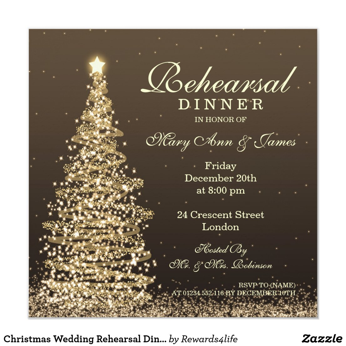 Christmas Wedding Rehearsal Dinner Gold Invitation