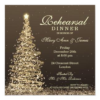 Christmas Wedding Rehearsal Dinner Gold Invitation