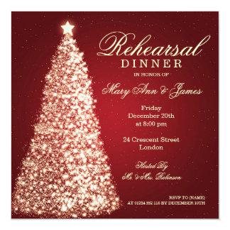 Christmas Wedding Rehearsal Dinner Gold Red Invitation