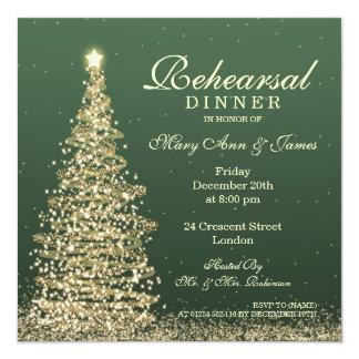 Christmas Wedding Rehearsal Dinner Green Gold Invitation