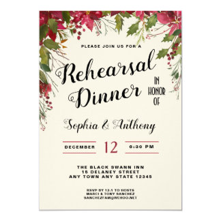 Christmas Wedding Rehearsal Dinner Invitation