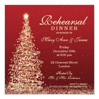 Christmas Wedding Rehearsal Dinner Red Gold Card