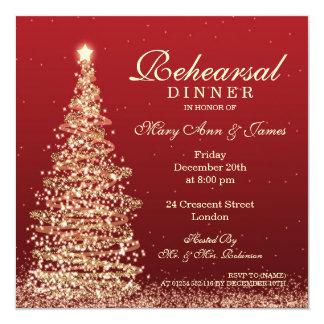 Christmas Wedding Rehearsal Dinner Red Gold Invitation