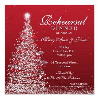 Christmas Wedding Rehearsal Dinner Red Silver Invitation