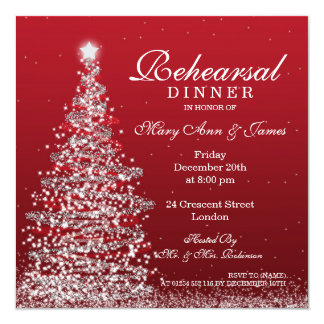 Christmas Wedding Rehearsal Dinner Red Silver Invitation