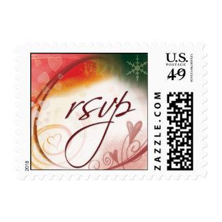 Christmas Wedding RSVP Postage Stamps