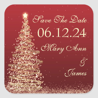 Christmas Wedding Save The Date Red Gold Square Sticker