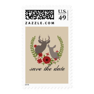 Christmas Wedding Save The Date Rustic Floral Deer Stamp