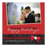 "Christmas Wedding Thank You Photo Card 5.25"" Square Invitation Card"